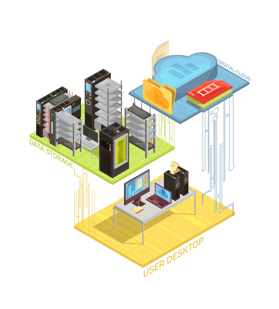 Isometric infographics with user workstation, digital cloud and servers for data storage on white background vector illustration